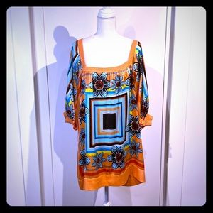 Bebe  silk bright print dress
